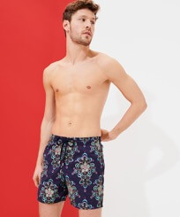 Men Classic Embroidered - Men Swimwear Embroidered Kaleidoscope - Limited Edition, Sapphire frontworn