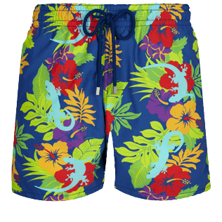 Men Classic Printed - Men Swimwear Les Geckos, Batik blue front