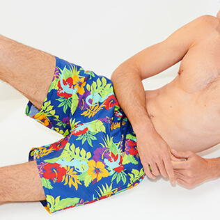 Men Classic Printed - Men Swimwear Les Geckos, Batik blue supp8