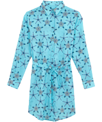 Women Others Printed - Women Cotton Voile Shirt Dress Starfish Dance, Lazulii blue front