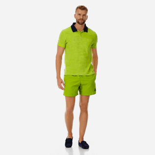 Men Others Solid - Men Terry Cloth Polo Shirt Solid Contrasted, Cactus supp2