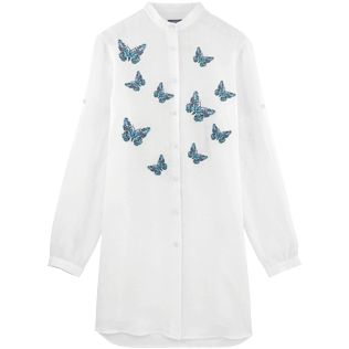 Women Dresses Embroidered - Embroidered Butterflies long round collar shirt, White front