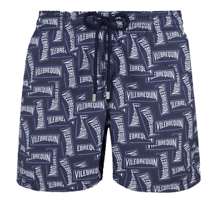 Men Classic Printed - Men Swimwear Vilebrequin Labels, Navy front