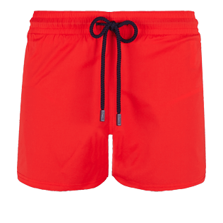 Men Short classic Solid - Men Swimwear Short and Fitted Stretch Solid, Medicis red front