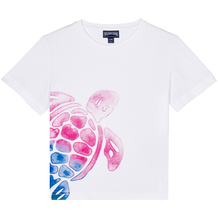 Boys Others Printed - Boys Cotton T-Shirt Tortue Aquarelle, White front