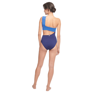 Women One piece Solid - Women One piece Swimsuit Solid, Batik blue backworn