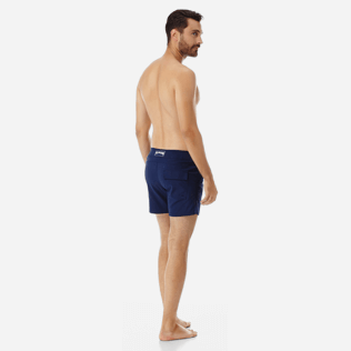 Men Flat belts Solid - Men Flat Belt Stretch Swim Trunks Solid, Navy backworn