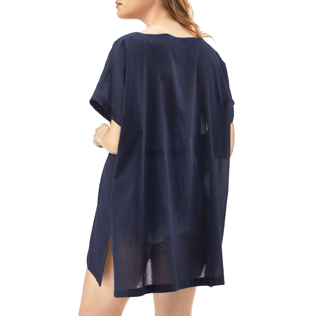 Women Dresses Solid - Solid Cover-up Dress, Navy backworn