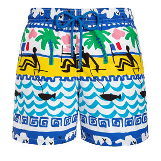 Men Classic Printed - Men Swimwear La Mer - Vilebrequin x JCC+ - Limited Edition, White front