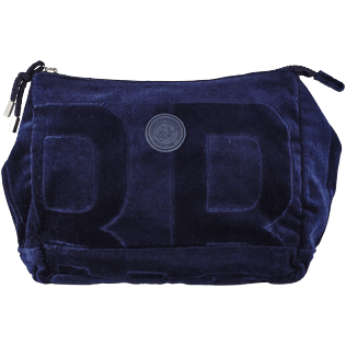 Others Solid - Zipped beach pouch in terry cloth solid jacquard, Navy front