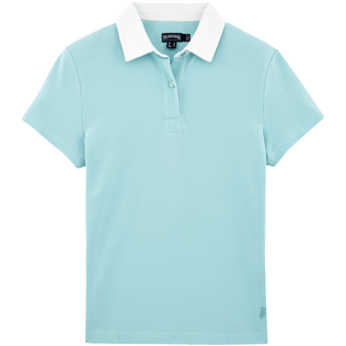 Women Polos Solid - Solid Cotton pique polo, Frosted blue front
