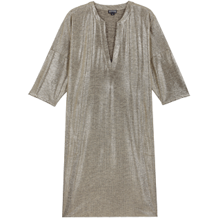 Mujer Autros Liso - Women Lurex mesh Beach Cover-up Solid, Oro front