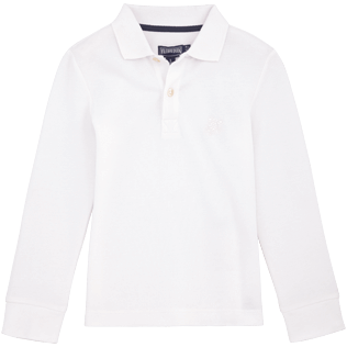 Boys Polos Solid - Solid Long sleeves Cotton pique polo, White front