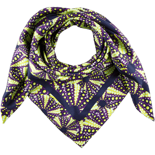Others Printed - Silk Scarf Oursinade, Reddish purple front
