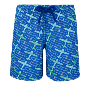 Boys Others Embroidered - Boys Embroidered Swimwear St Barth - Limited Edition, Sea blue front