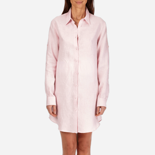 Women Others Solid - Women Long Linen Shirt Solid, Peony supp1