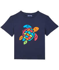 Boys Others Printed - Boys Organic Cotton T-shirt Tortue Multicolore, Navy front