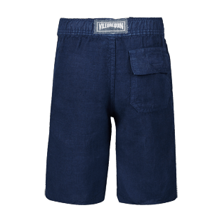 Boys Others Solid - Boys Linen Bermuda Shorts Solid, Navy back