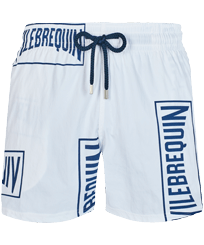 Men Stretch classic Printed - Men Stretch Swimwear Vilebrequin labels, White front