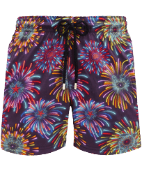 Hombre Clásico stretch Estampado - Men Swimwear Stretch Fireworks, Azul marino front