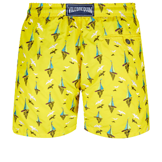 Men Classic Embroidered - Men Swim Trunks Embroidered Bateaux sur l'eau - Limited Edition, Buttercup yellow back
