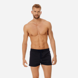 Men Short classic Solid - Men short and fitted stretch swimwear solid, Black frontworn