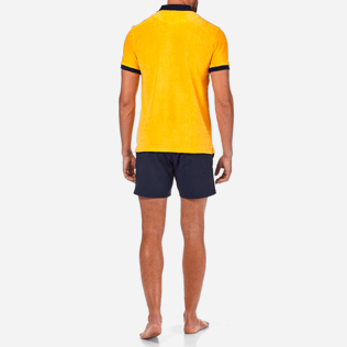 Men Others Solid - Contrasted Terry polo, Turmeric backworn