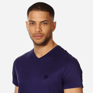 Men Others Solid - Men Mercerized Cotton T-Shirt V-neck Solid, Midnight blue supp1