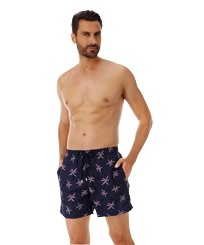 Men 017 Embroidered - Men Ultra-Light and packable embroidered Swimwear Palm Beach - Limited Edition, Navy frontworn