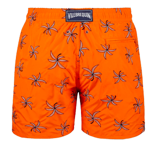 Men Embroidered Embroidered - Men Ultra-Light and packable embroidered Swimwear Palm Beach - Limited Edition, Neon orange back