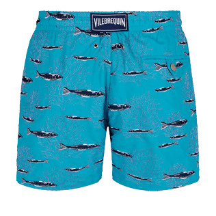 Men Classic Embroidered - Men Swim Trunks Coral & Fish - Limited Edition, Curacao back