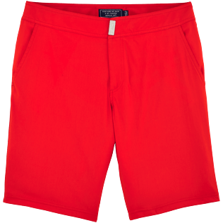 Men Long Solid - Solid Superflex Long fitted cut Swim shorts, Poppy red front