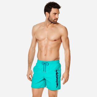 Men Classic Embroidered - Men Swim Trunks Placed Embroidery Le Vilebrequin, Veronese green frontworn