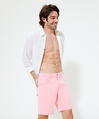 Men Others Solid - Men 5 Pockets Bermuda Shorts Neo Pink, Fluo pink frontworn