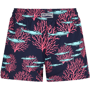 Women Others Printed - Women Swim Short Coral & Fish, Navy back
