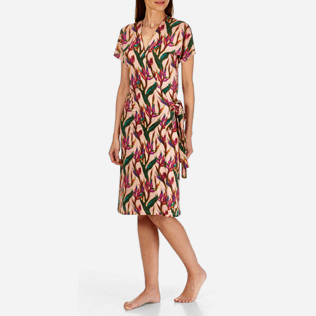Women Dresses Printed - Women Wrap Dress Mini Paradise 3D, Nude frontworn