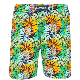 Homme Coupe courte Imprimé - Maillot de bain Homme Long Stretch Jungle, Bleu nuit back