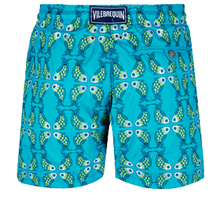 Men Classic Embroidered - Men Swim Trunks Embroidered Sweet Fishes - Limited Edition, Light azure back