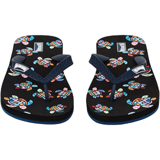 Men Others Printed - Men Flip Flop Over the Rainbow Turtles, Black frontworn