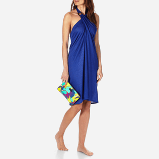 Women Others Solid - Women Linen Jersey Pareo Dress Solid, Neptune blue supp3