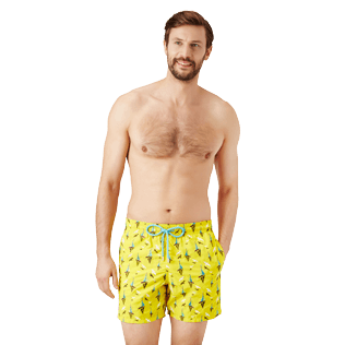 Men Classic Embroidered - Men Swim Trunks Embroidered Bateaux sur l'eau - Limited Edition, Buttercup yellow frontworn