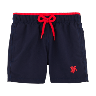 Boys Others Solid - Solid Bicolor Swim Shorts, Navy / red front