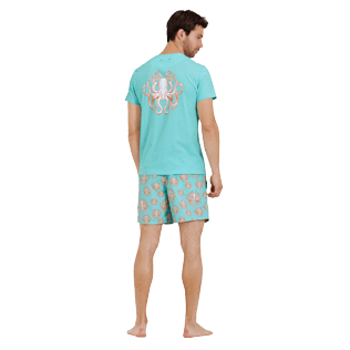 Men Others Printed - Men Cotton T-Shirt Octopussy, Lagoon backworn