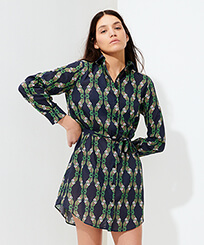 Women Others Printed - Women Cotton Voile Shirt Dress Sweet Fishes, Navy frontworn