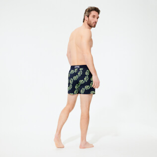 Men Stretch classic Magical - Men Swim Trunks Stretch Elephants Dance Glow in the dark, Navy backworn