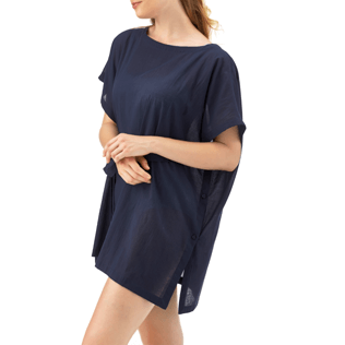 Women Dresses Solid - Solid Cover-up Dress, Navy frontworn