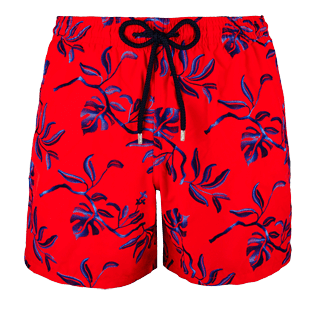 Men Embroidered Embroidered - Men Swimtrunks Embroidered Feuillage - Limited Edition, Poppy red front