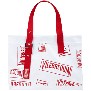 Others Printed - Large Beach Bag (Vilebrequin)RED, White frontworn