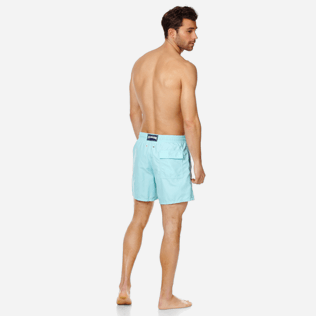 Men Classic Embroidered - Men Swim Trunks Placed Embroidery Infinite Turtles, Acqua backworn