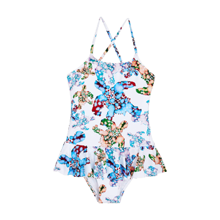 Girls Others Printed - Girls One Piece Swimsuit Frills Watercolor Turtles, White front